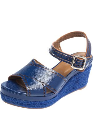 Hermès Glossy Leather Perforated Espadrille Wedge Sandals Size 39