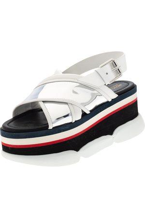 Moncler /Silver Patent and Leather Zelda Platform Sandals Size 37