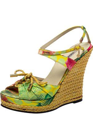 VERSACE Printed Satin Espadrille Wedge Sandals Size 37