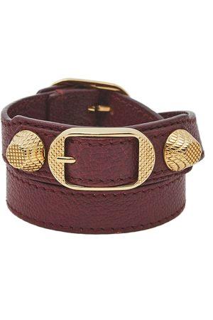 Balenciaga Arena Giant Burgundy Leather Triple Tour Bracelet S