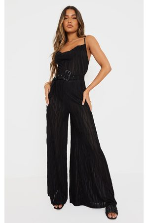 PRETTYLITTLETHING Sheer Textured Cowl Neck Belted Wide Leg Jumpsuit