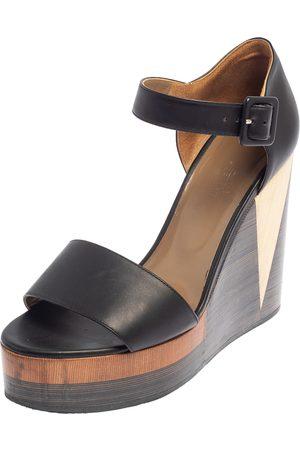 Hermès Dark Leather D'Orsay Wedge Sandals Size 39