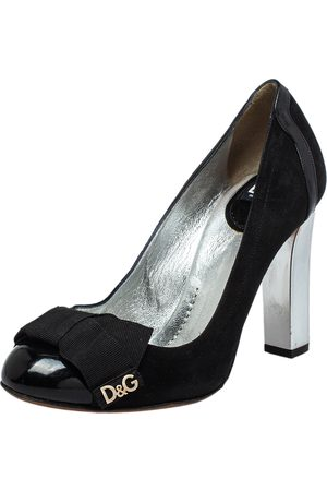 Dolce & Gabbana Suede And Patent Leather Block Heel Pumps Size 37