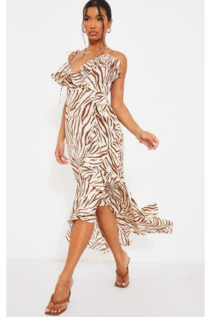 PRETTYLITTLETHING Zebra Frill Detail Tie Strap Wrap Midi Dress