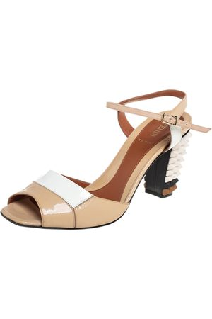 Fendi /White Patent Leather Spike Heel Sandals Size 39