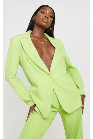 PRETTYLITTLETHING Tall Lime Oversized Shoulder Pad Suit Blazer