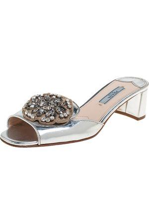 Prada Patent Leather Embellished Block Heel Slide Sandals Size 36