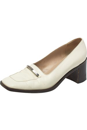 Gucci Leather Logo Block Heel Loafer Pumps Size 38.5