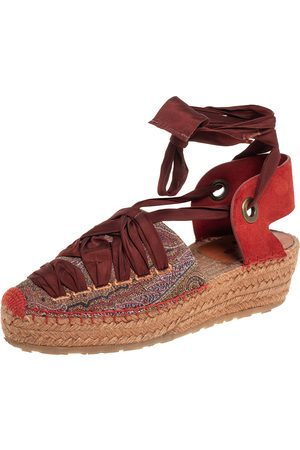 Etro Canvas And Suede Espadrille Sandals Side 37