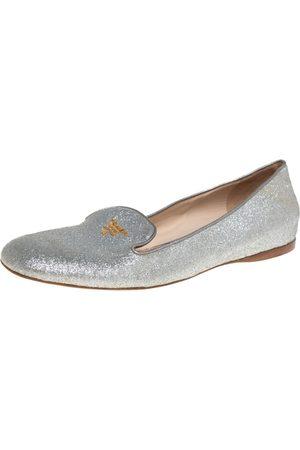 Prada Glitter Logo Embellished Smoking Slippers Size 40