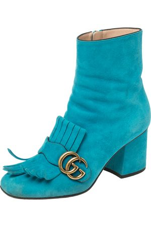 Gucci Suede Marmont Fringe Detail Ankle Boots Size 37