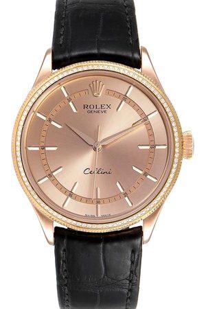Rolex Diamond 18K Rose Gold Cellini Automatic 50705 Men's Wristwatch 39 MM