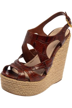 Miu Miu Embossed Leather Espadrille Wedge Sandals Size 37.5