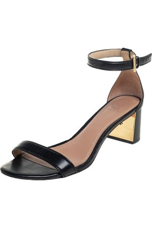 Tory Burch Women Heeled Sandals - Leather Block Heel Ankle Strap Sandals Size 38