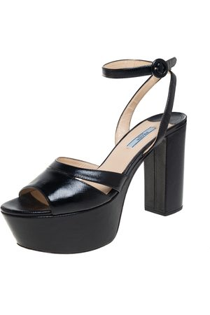 Prada Women Platform Sandals - Patent Leather Platform Block Heel Ankle Strap Sandals Size 42