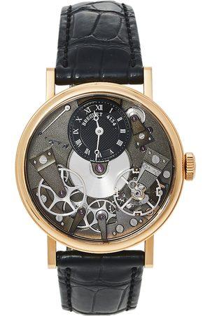 Breguet 18K Rose Gold Alligator Leather Tradition 7027Br/G9/9V6 Men's Wristwatch 37 MM