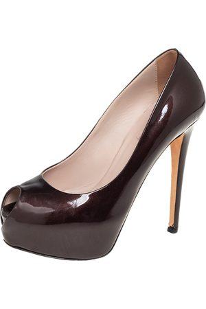 LE SILLA Patent Leather Peep Toe Platform Pumps Size 36