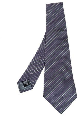 Armani Men Neckties - Grey Diagonal Striped Silk Tie