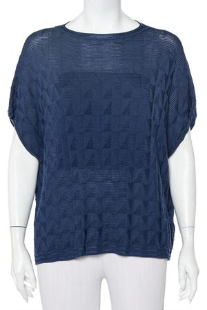 M Missoni Navy Patterned Wool Oversized Boxy Top S