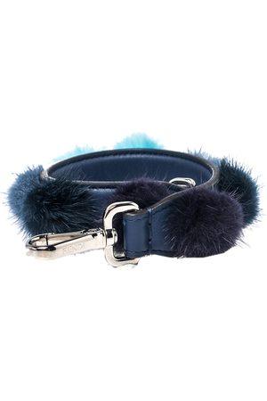 Fendi Leather With Multicolor Mink Fur Pompoms Bag Strap