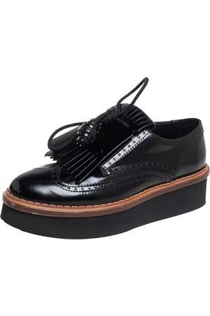 Tod's Brogue Leather Fringe And Tassel Platform Derby Size 36.5