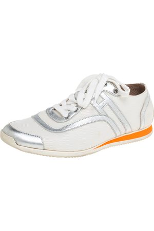 Hermès Nylon And Silver Leather Low Top Sneakers Size 38