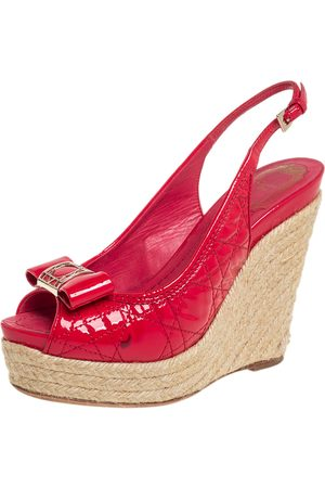 Dior Patent Cannage Leather Espadrille Wedge Peep Toe Slingback Sandals Size 37.5