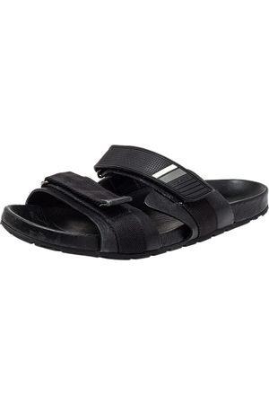 Prada Nylon And Leather Velcro Strap Flat Sandals Size 45