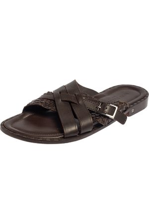 LOUIS VUITTON Python And Leather Criss-Cross Flat Sandals Size 45