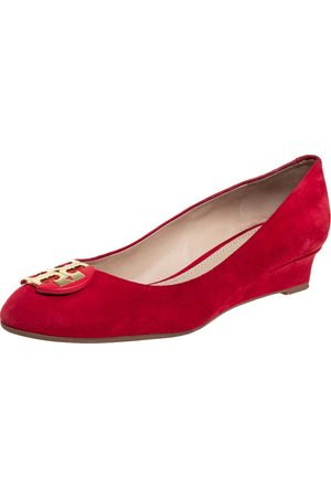 Tory Burch Suede Wedge Pumps Size 37.5