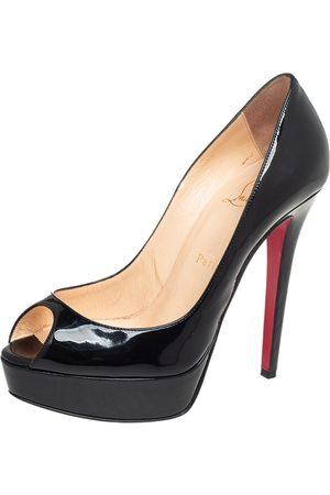 Christian Louboutin Patent Leather Lady Peep Toe Platform Pumps Size 37