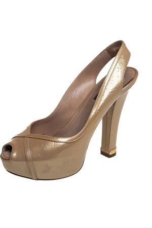 LOUIS VUITTON Monogram Vernis Leather Tamara Peep Toe Slingback Pumps Size 36.5