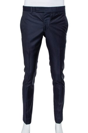 Gucci Navy Dotted Wool Straight Leg Trousers S