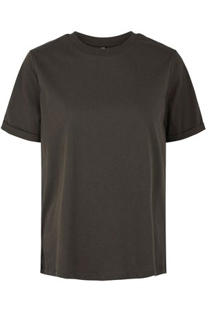 Pieces Ria Fold Up Solid Short Sleeve T-shirt S Black Olive