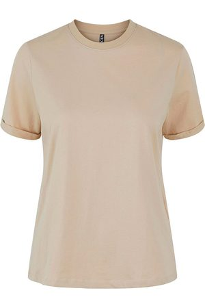 Pieces Ria Fold Up Solid Short Sleeve T-shirt L White Pepper