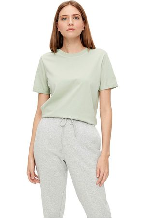 Pieces Ria Short Sleeve Fold Up Solid T-shirt L Desert Sage