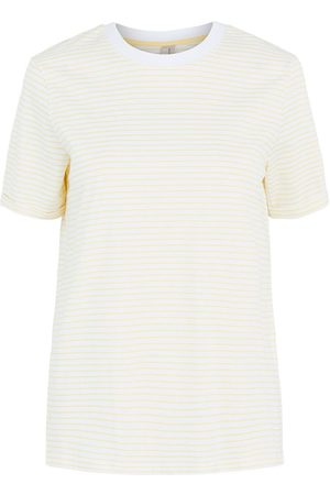 Pieces Women Short Sleeve - Ria Fold Up Short Sleeve T-shirt XS Bright White / Stripes Pale Banana