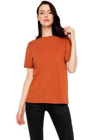 Pieces Ria Fold Up Solid Short Sleeve T-shirt L Mocha Bisque