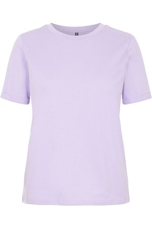 Pieces Ria Fold Up Solid Short Sleeve T-shirt M Lavender