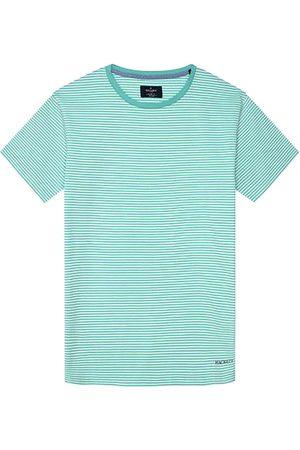 Hackett Men Short Sleeve - Boat Stripe Short Sleeve T-shirt XL Pool Blue