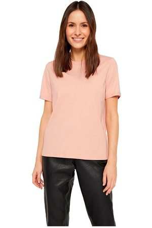 Pieces Ria Fold Up Solid Short Sleeve T-shirt L Misty Rose