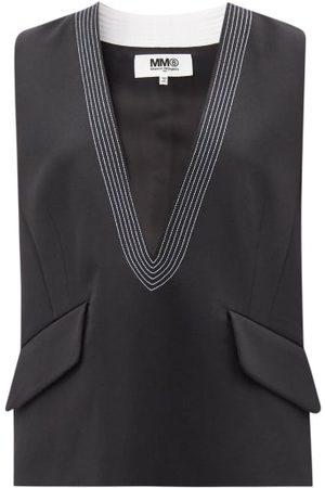 Mm6 Maison Margiela Quilted Plunge-neck Gabardine Sleeveless Top - Womens