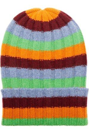 THE ELDER STATESMAN Bunny Echo Striped Ribbed-cashmere Beanie Hat - Womens - Multi