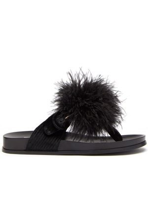 Aquazzura Boudoir Feather, Velvet And Leather Sandals - Womens