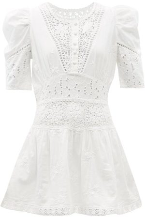 LOVESHACKFANCY Divine Floral-embroidered Cotton-voile Mini Dress - Womens