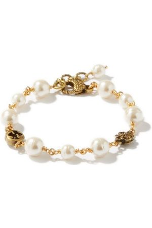 Gucci GG And Glass Pearl Bracelet - Womens - Pearl