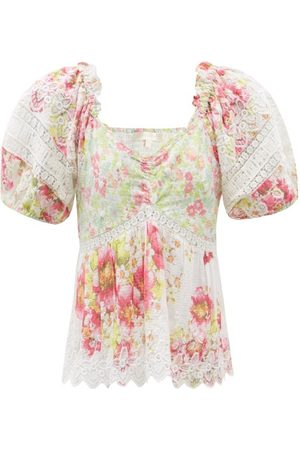 LOVESHACKFANCY Prezia Puff-sleeve Floral-print Cotton Blouse - Womens - Multi