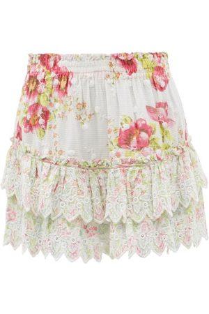 LOVESHACKFANCY Cairo Tiered Floral-print Cotton Mini Skirt - Womens - Multi