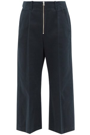 MM6 MAISON MARGIELA Women Wide Leg Pants - Zipped Cotton-twill Cropped Wide-leg Trousers - Womens - Navy