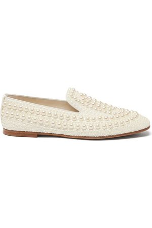 Jimmy Choo Varsha Pearl-embellished Satin Loafers - Womens